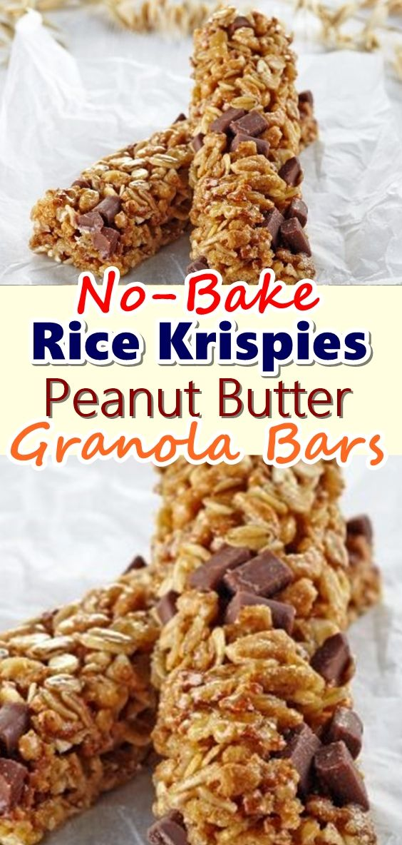 No Bake Rice Krispies Granola Bars With Chocolate Peanut Butter