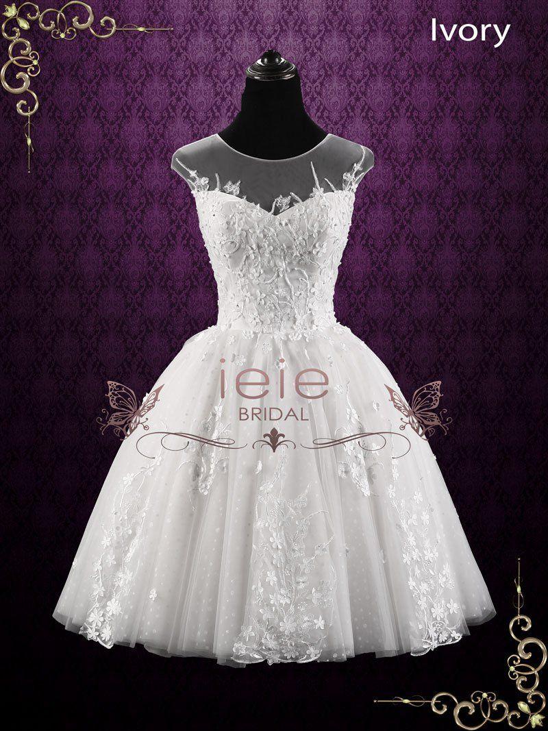 Vintage floral lace short wedding dress may short wedding