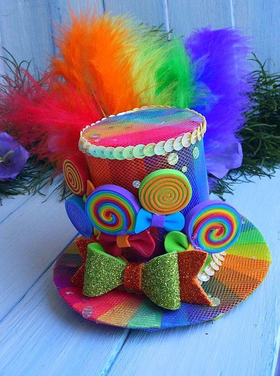 Mini Top Hat Headband Rainbow Mini Top Hat Mad Hatter Hat Tea Party ... 89a0d081d18