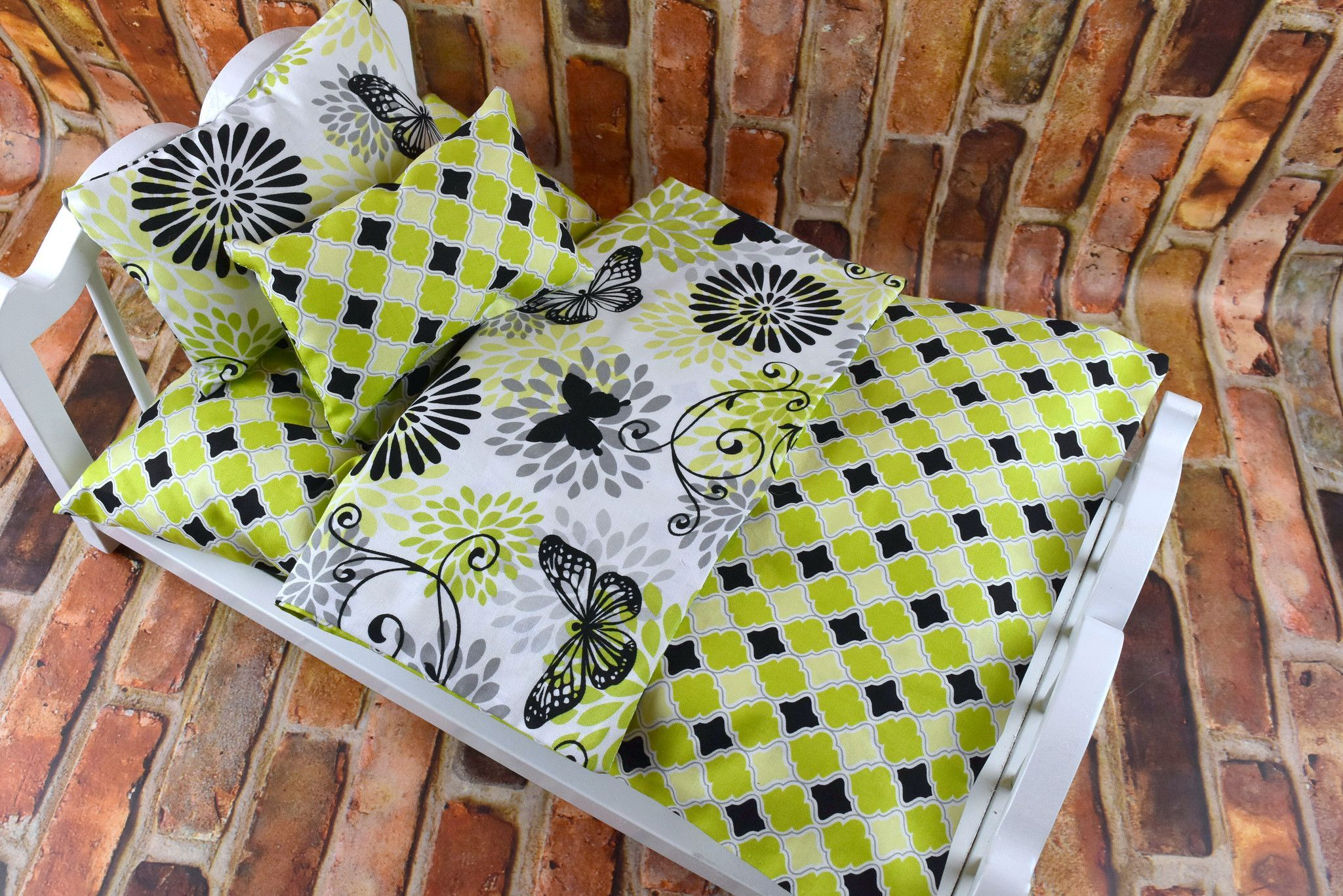 This colorful Butterfly pattern has so many options! Lively and colorful Lime Green and Black coordinating patterns make this a wonderful set for any doll bedding collection. Mattress is gently hand s