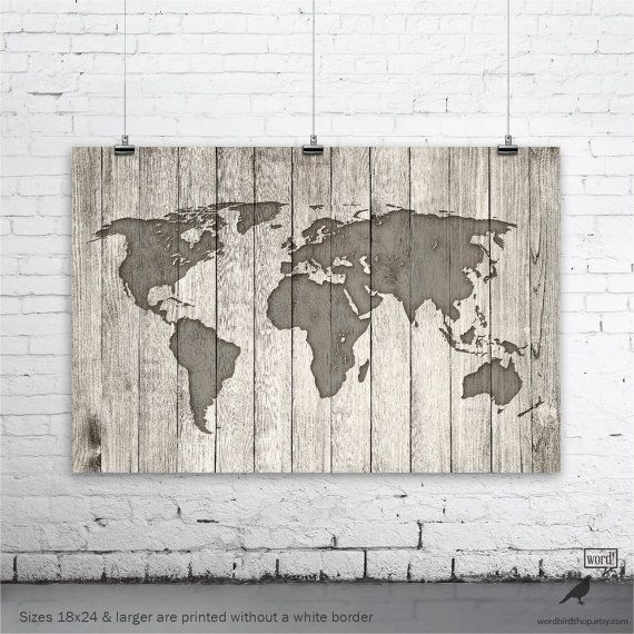 Rustic world map poster vintage map of the world por wordbirdshop rustic world map poster vintage map of the world por wordbirdshop gumiabroncs Images