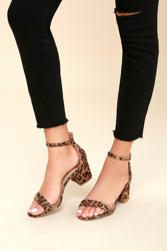 leopard high heel sandals