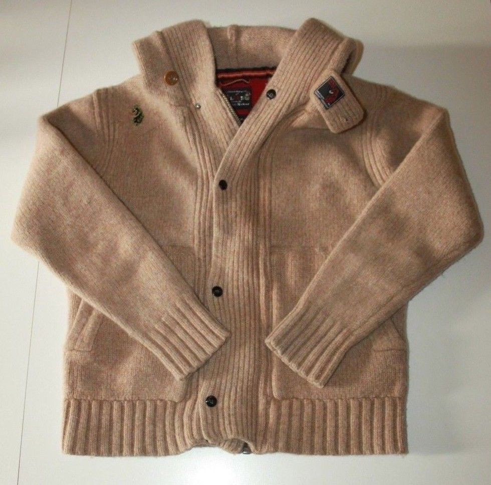 Luke 1977 Light Brown 100% Wool Cable Knit Sweater Hoodie