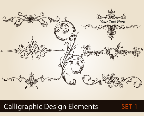 Calligraphic Design Elements Vector Set 1