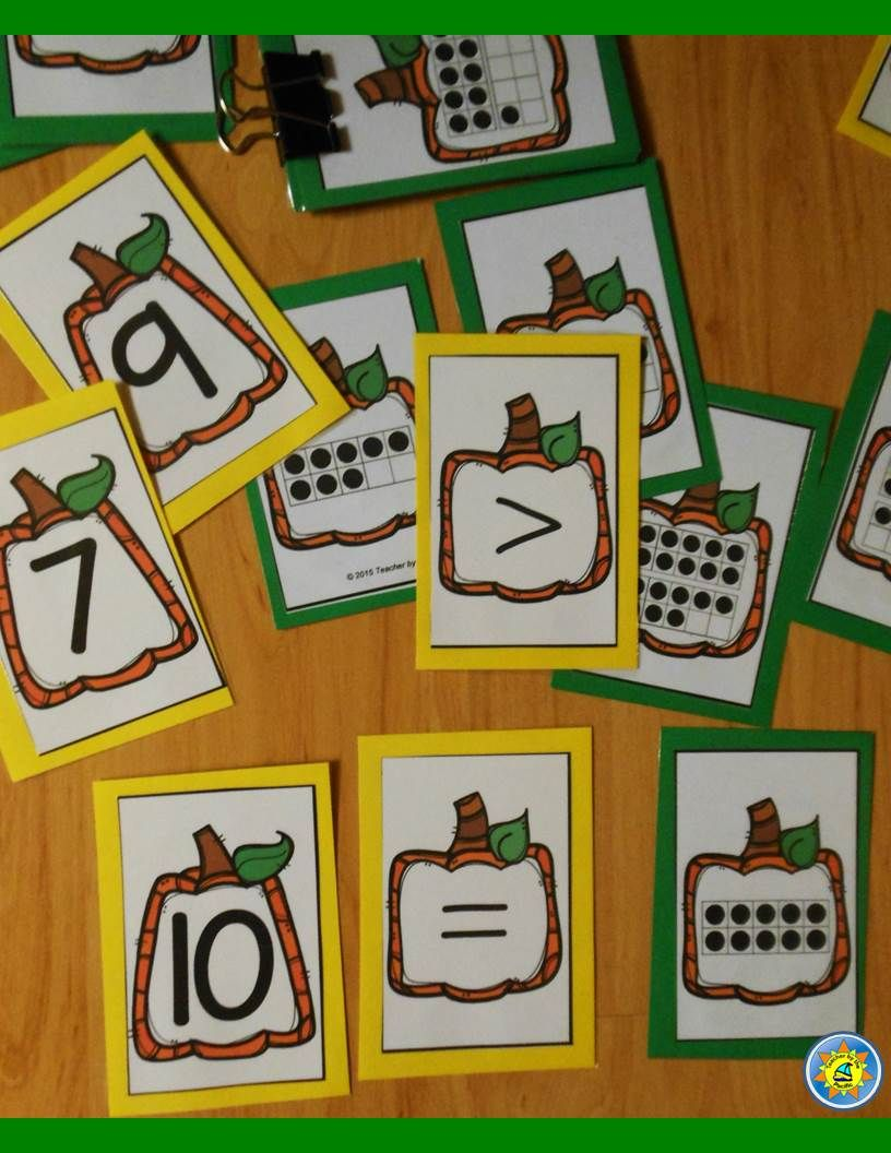 Pumpkin ten frame and number cards. Sequence, compare, match.