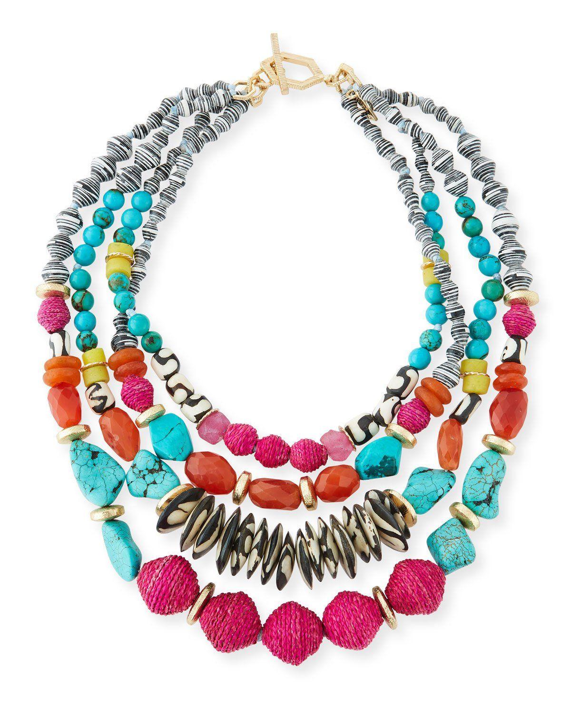 Akola Twisted Multi-Strand Necklace, Blue, 22