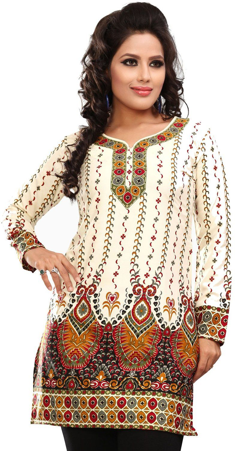59660ad2d9408d Amazon.com: Indian Tunic Top Womens Kurti Printed Blouse India Clothing:  Clothing
