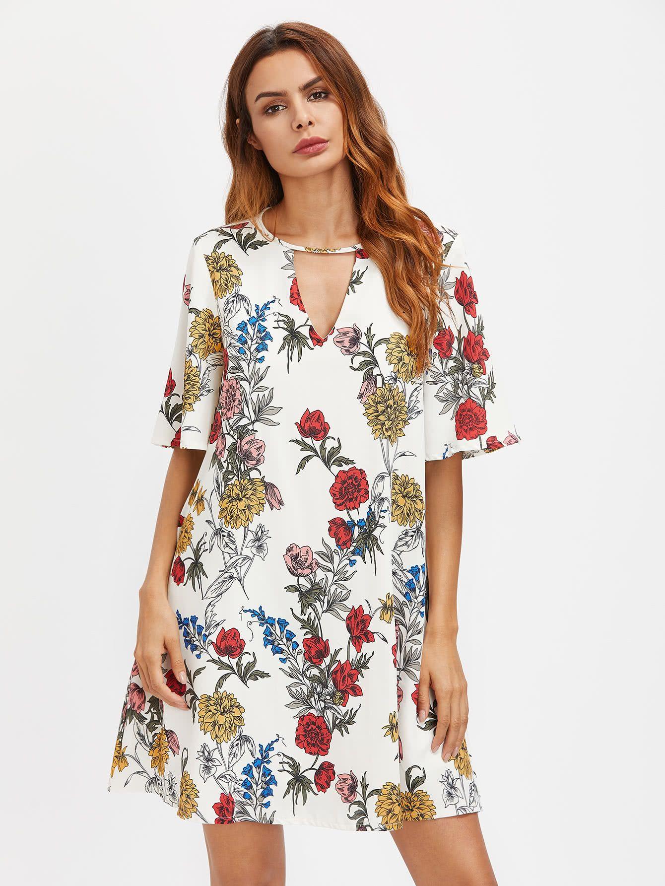Shop V Cut Front Floral Print Dress online. SheIn offers V Cut Front ...