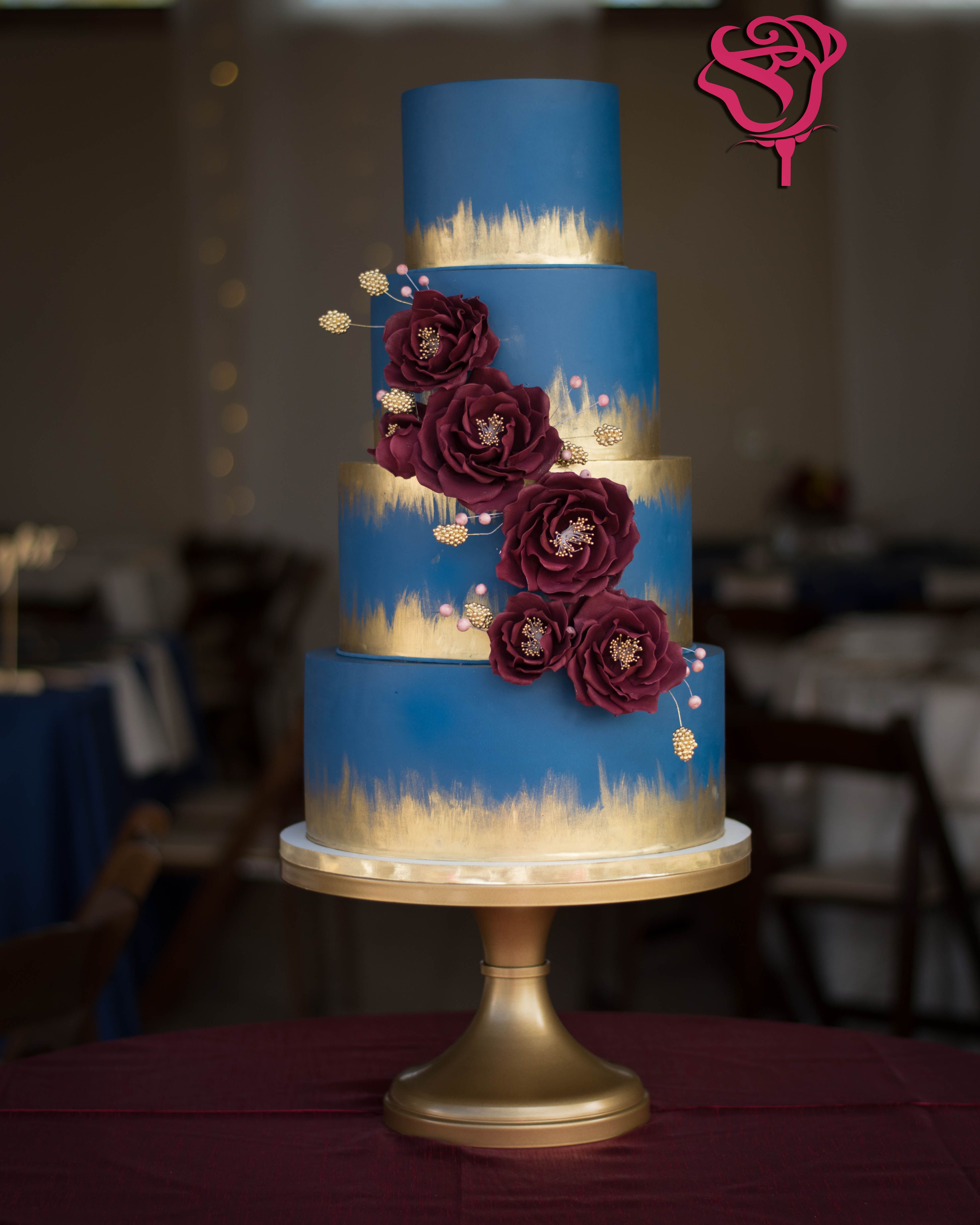 Navy Blue and Burgundy wine wedding cake with gold details