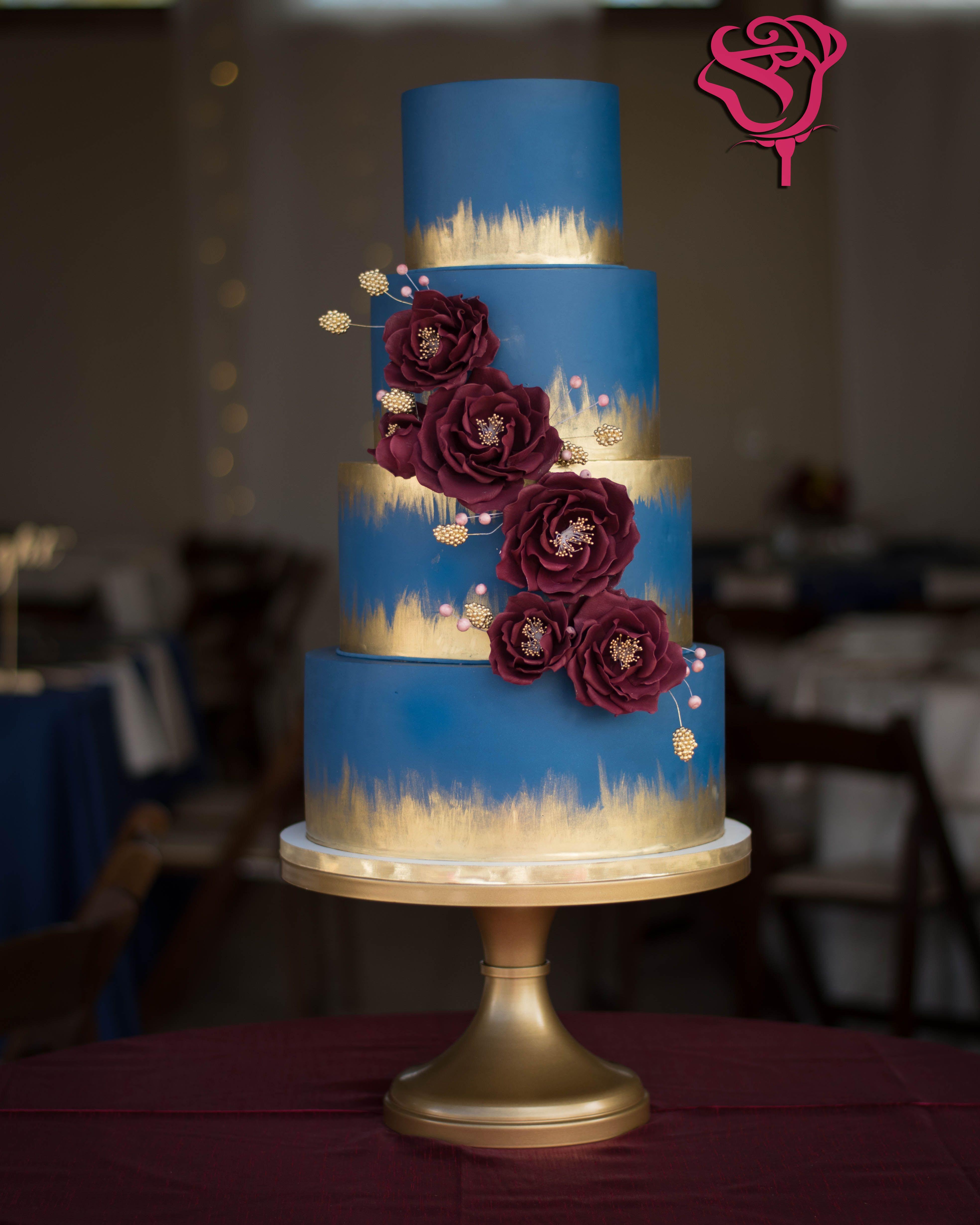 Navy Blue And Burgundy Wine Wedding Cake With Gold Details Wine Wedding Cake Burgundy Wedding Cake Fall Wedding Cakes