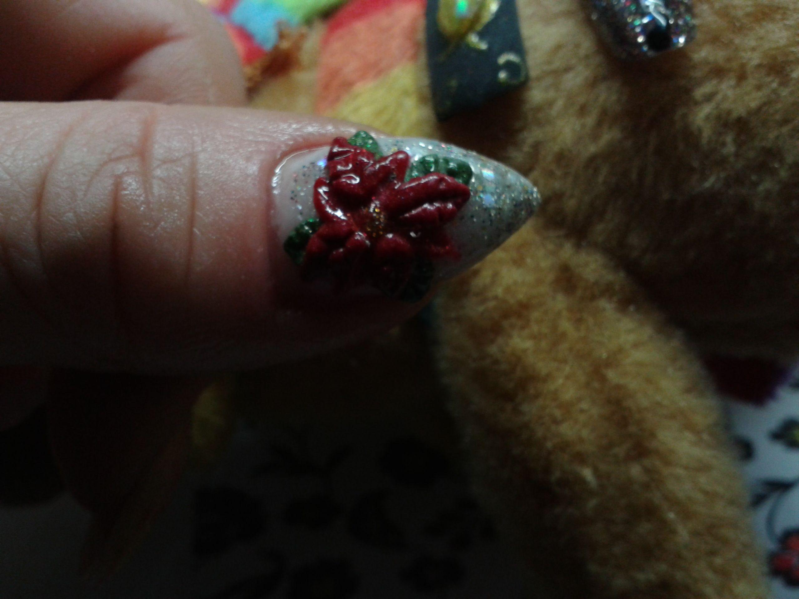 Acrylic poinsettia moje pomysły my nail design ideas pinterest