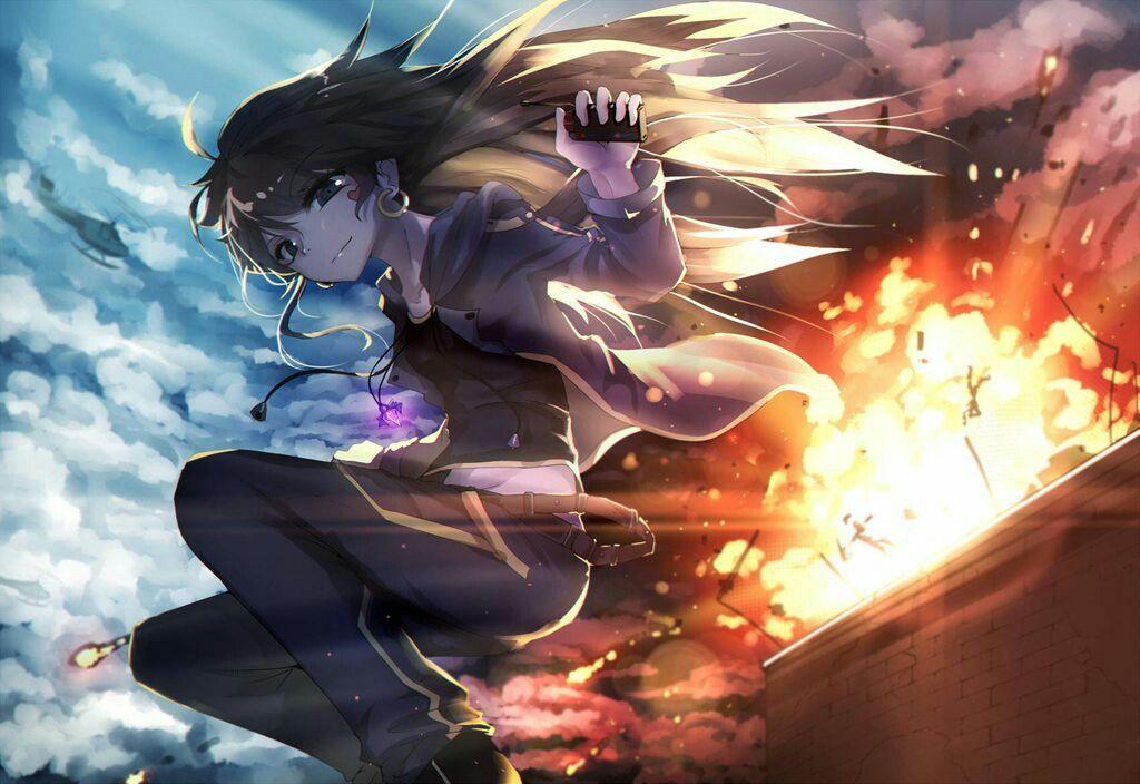Anime girl jump explode dangerous action pretty art fire - Anime girls with fire ...
