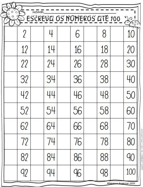Números de 1 a 100 - Atividades Para Imprimir - Blog Cantinho ...