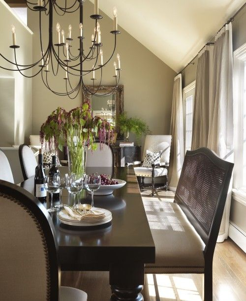 Love the bench idea on one side of the dining room table but think backless would be nicer
