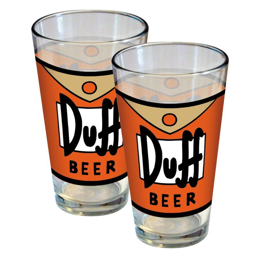 the Simpsons Duff Beer Label 16oz. Glass
