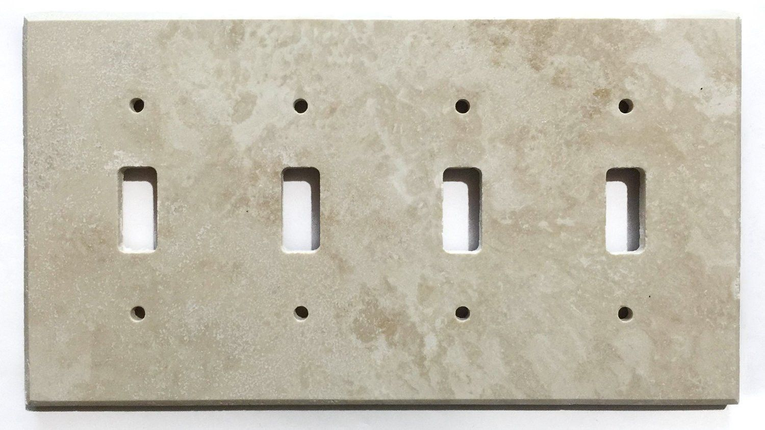 Ivory Travertine Quadruple Toggle Switch Wall Plate Light Switchplates Outlet Covers Plates Wallplates Cover Honed