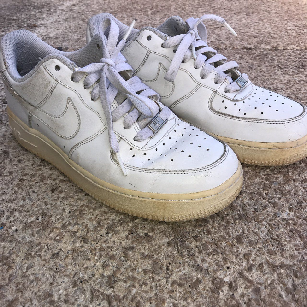 40c2e7143c Awesome vintage Nike Air Force 1s! These are so cool but I never wear them  anymore. I love the vintage colored sole. Size 7.5 men's Size 8.5 women's  Tags ...