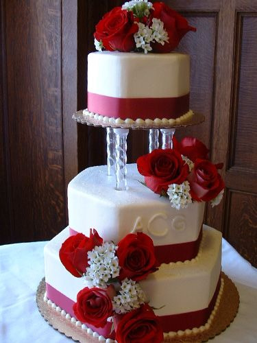 wedding cakes with pillars and roses clean and simple cake blue ribbon no flowers no 26080