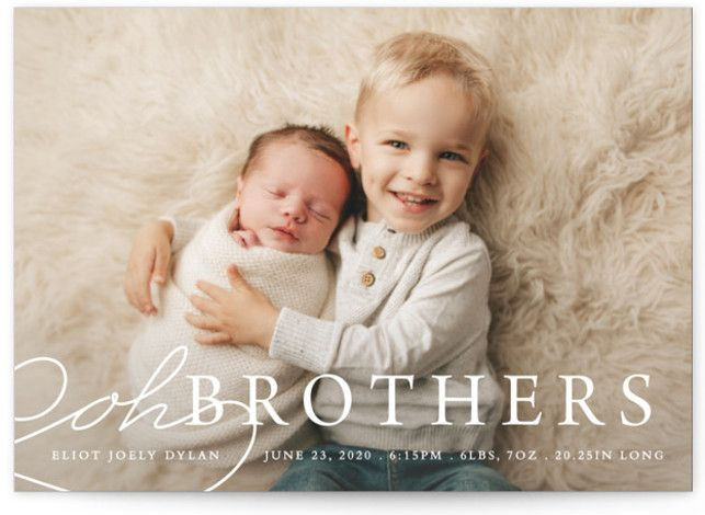 This Fun Birth Announcement Boasts A Fun Sentiment. Funny, White Birth Announcement Cards From Minted By Independent Artist Bethany Anderson. Snow BMC.