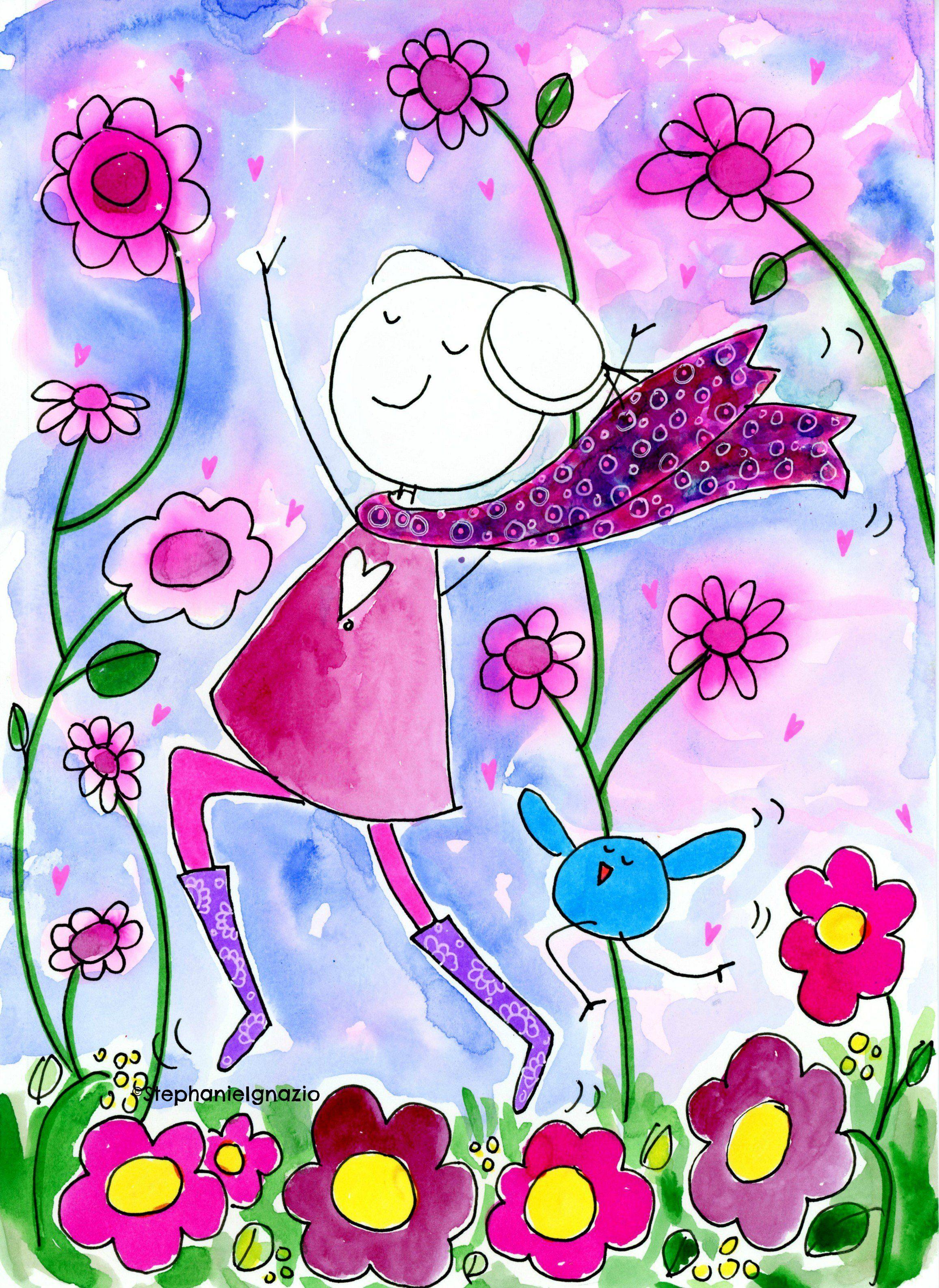 Spring watercolor cute cartoon girl flower art artist stephanie cute cartoon girl flower art artist stephanie ignazio izmirmasajfo