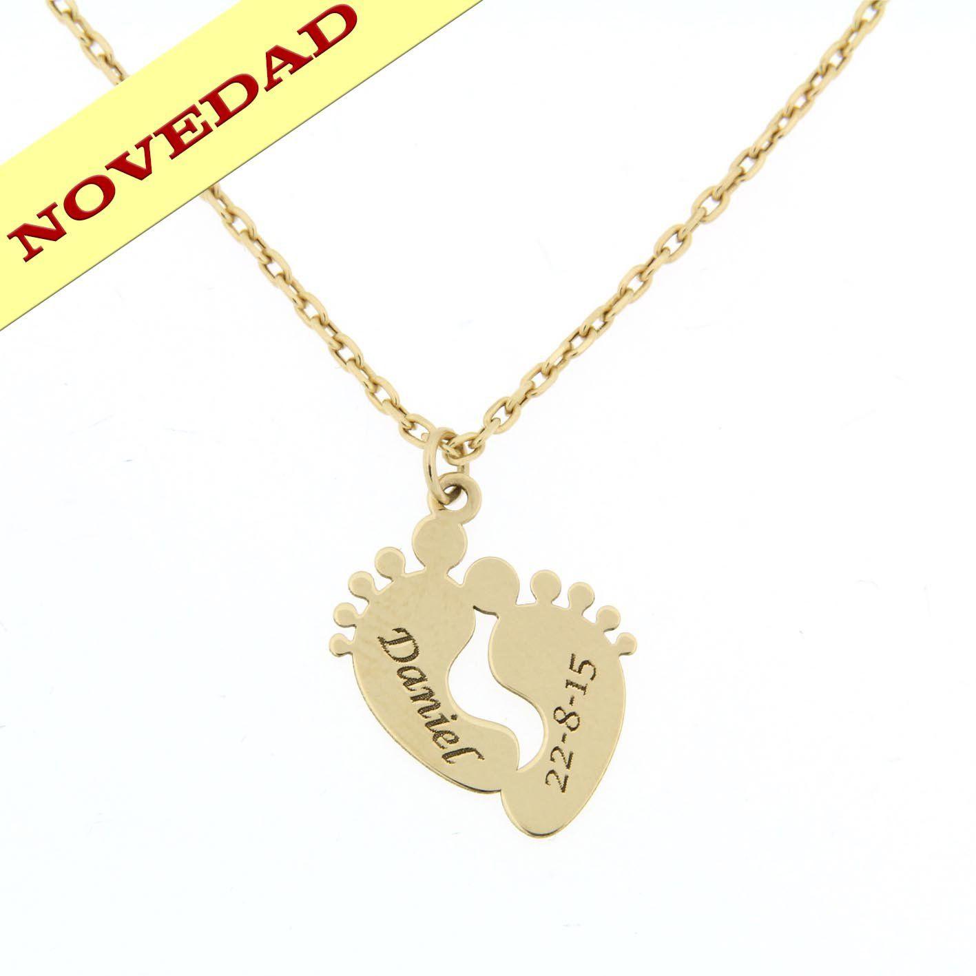 38d3eda0f951 Gargantilla Oro 18 Kl. personalizada Pies con nombres. Precioso ...