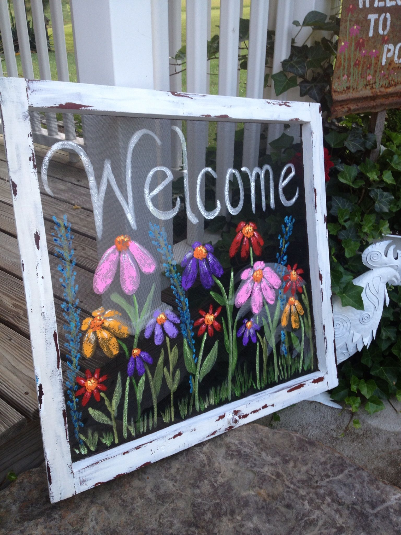 Cottage Screen Painted By Artist Tammy Wheeler M I S H