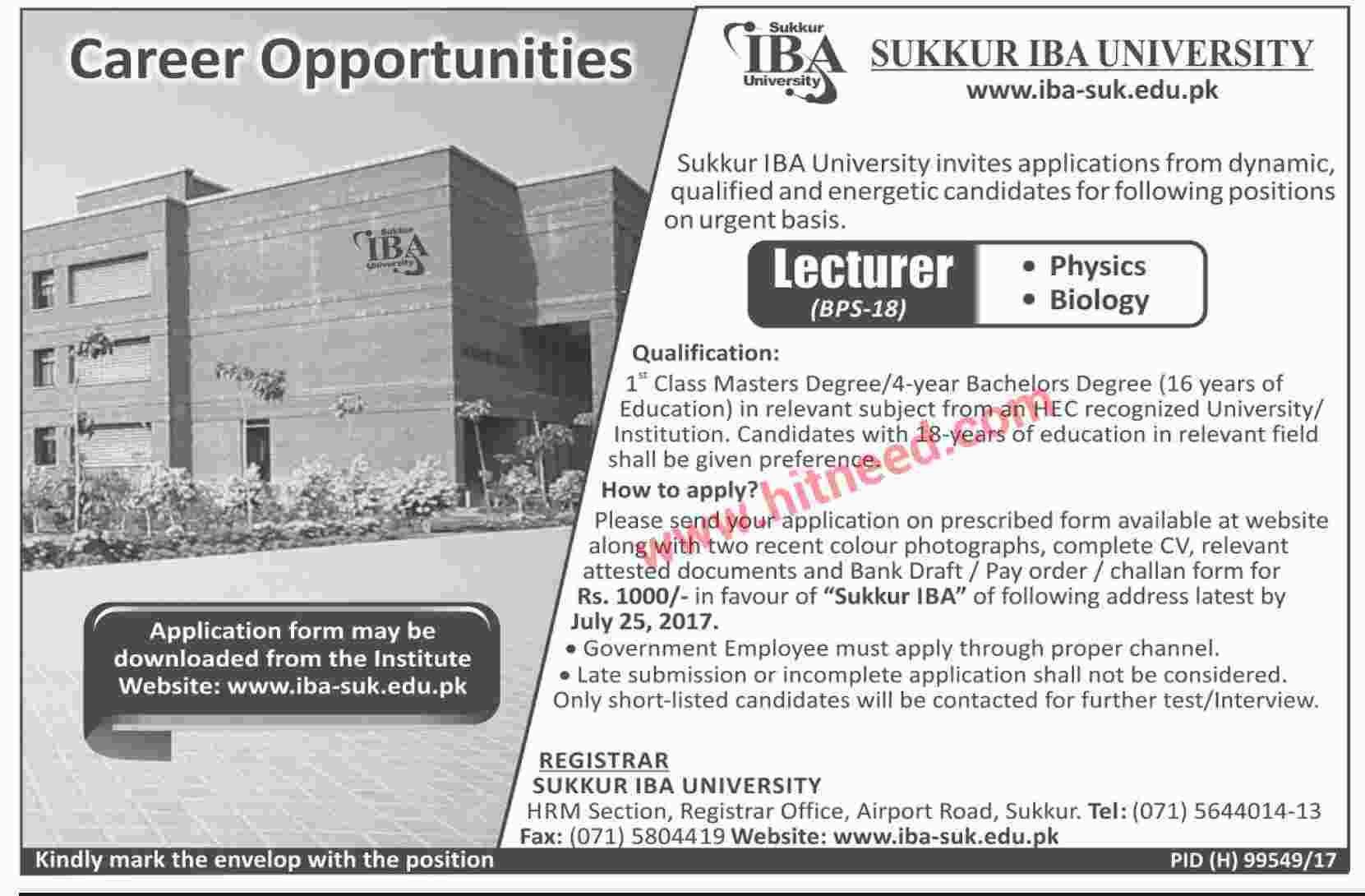 Sukkur IBA University, Lecturer Jobs, July 2017 Expiring