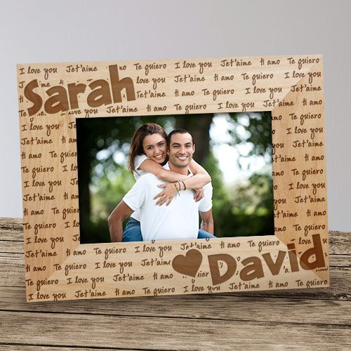 I Love You Personalized Wood Picture Frame   Wood pictures and Woods
