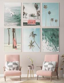 Coastal Prints Set of 6, Beach Prints, Surfing Pos