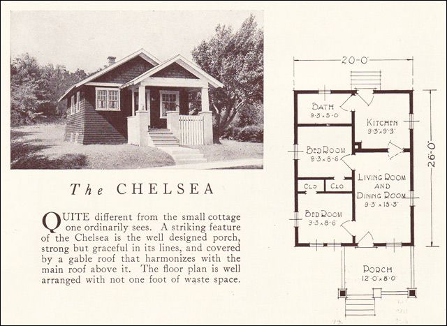 1922 Chelsea Lewis Manufacturing Small Bungalow House Plans Small Bungalow Vintage House Plans