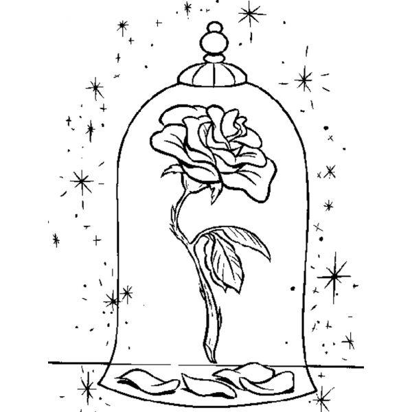 Disegno di la rosa della bella e la bestia da colorare for Disegni da colorare la bella e la bestia