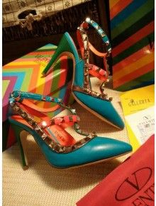 Valentino multicolour Rock Stud Ankle Strap Cyan 2015