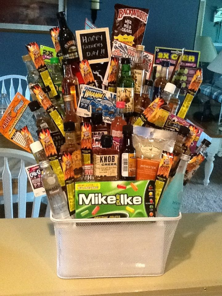 Alcohol bouquet I made for Father's Day. Miniatures, beef jerky ...