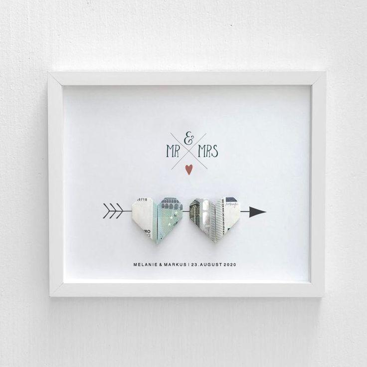 Geldgeschenk Hochzeit: Bild mit Geldschein-Herzen – #Bild #boheme #Geldgeschenk …