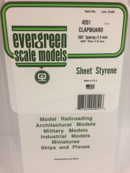 4051 050 Opaque White Polystyrene Clapboard Siding Evergreen Scale Models In 2020 Clapboard Siding Clapboard Scale Models