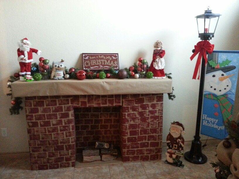 Diy cardboard box christmas fireplace tape cardboard for Diy apple boxes