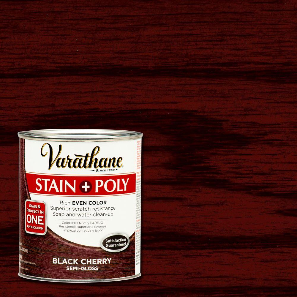 Varathane 1 Qt Black Cherry Stain And Polyurethane Case Of 2 Staining Wood Cherry Stain Cherry Wood Stain