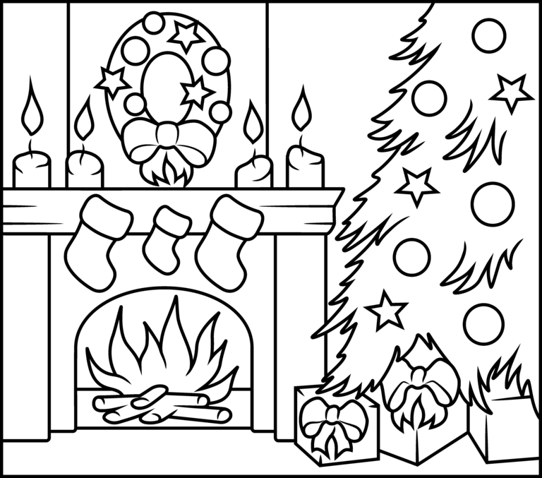 Christmas Fireplace - Printable Coloring Page | Christmas ...