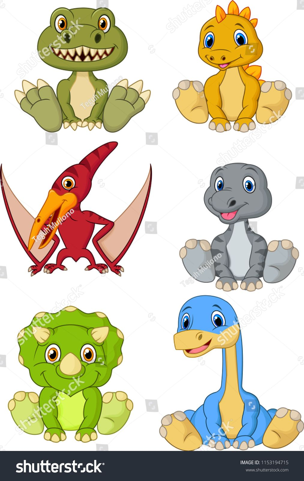 Cute Baby Dinosaurs Cartoon Collection Setdinosaurs Baby Cute Set