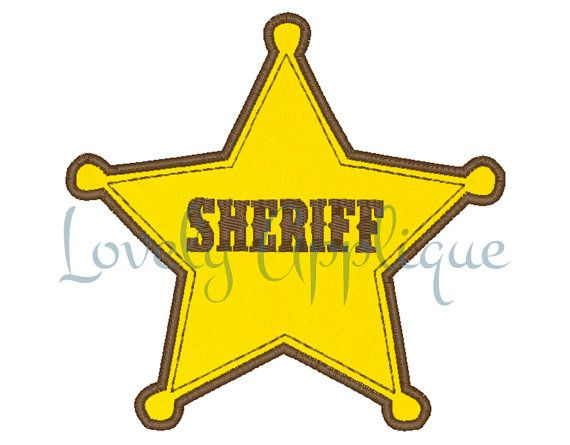 Woody Sheriff Badge Applique Design Instant By