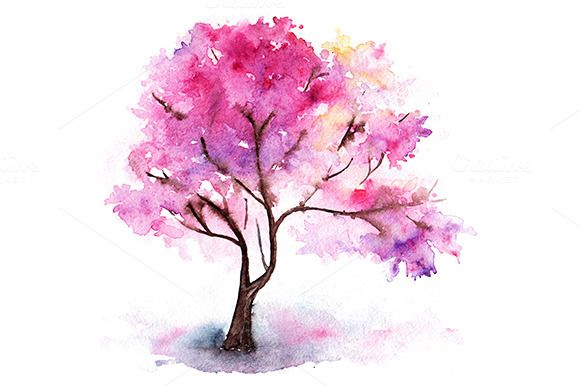 Watercolor Single Cherry Sakura Tree By Art By Silmairel On Creativemarket Graphics And Fonts In 2019 Watercolor Trees Watercolor Painting