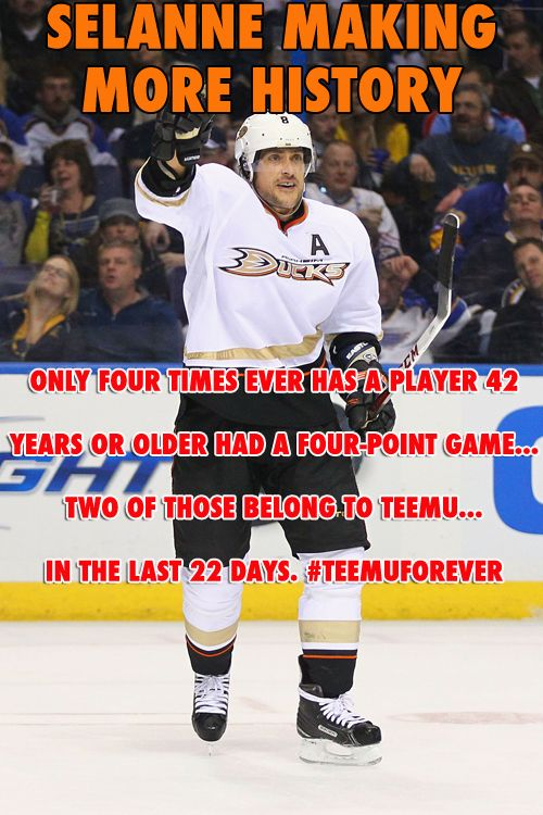 Selanne S Four Point Night Makes History Again Anaheim Ducks Hockey Ducks Hockey Hockey Season