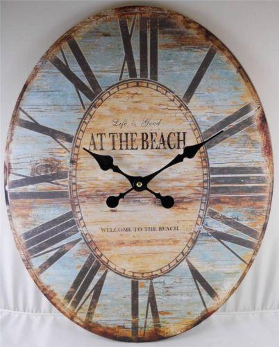 Oval Wall Clock Life Is Good Welcome To The Beach Clocks Decorative Home Decor Best Wall Clocks Coastal Wall Decor Wall Clock