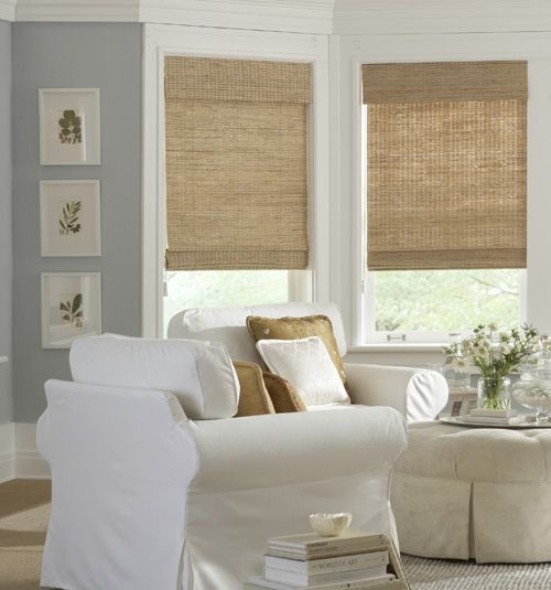 Boutique natural woven shades select weaves living spaces for Natural woven flat fold shades