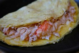 e is for eat: O is for: Omelette with Crab and Mock Hollandaise Sauce