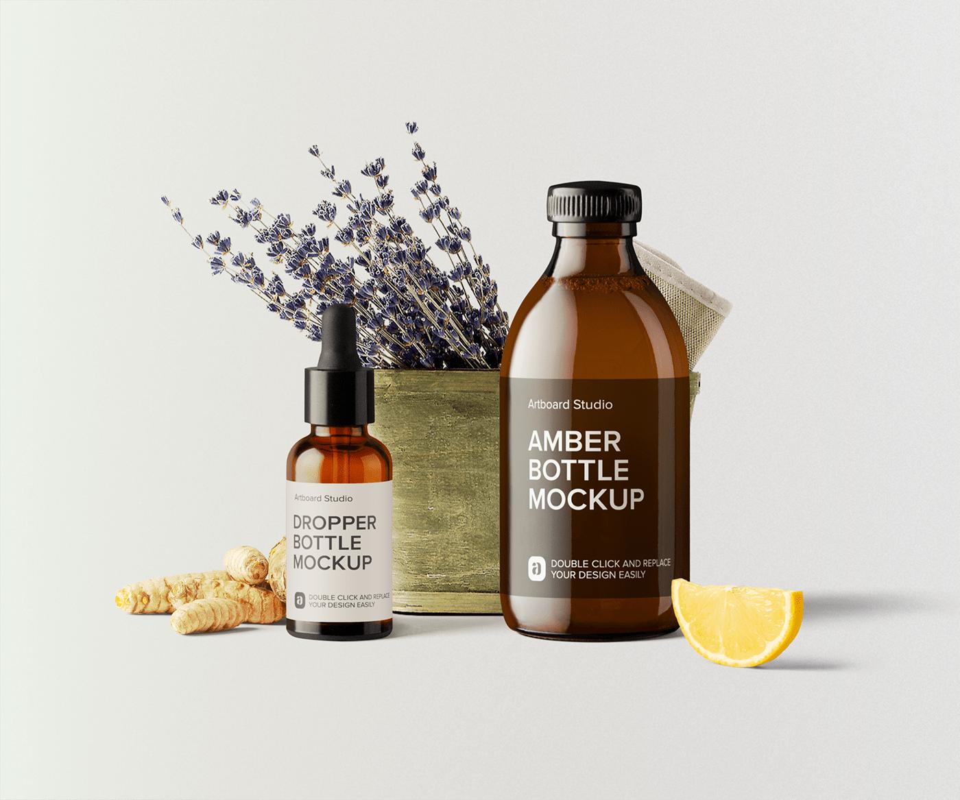 Skincare Oils Package Mockup Scene In 2021 Cosmetics Mockup Oil Skin Care Amber Bottles
