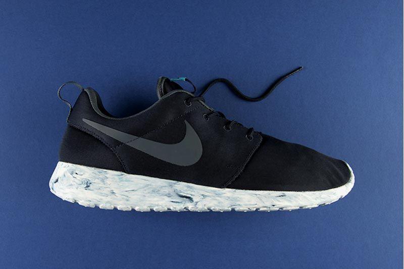 Nike Roshe Run Id Éclabousser Noir / Marbre