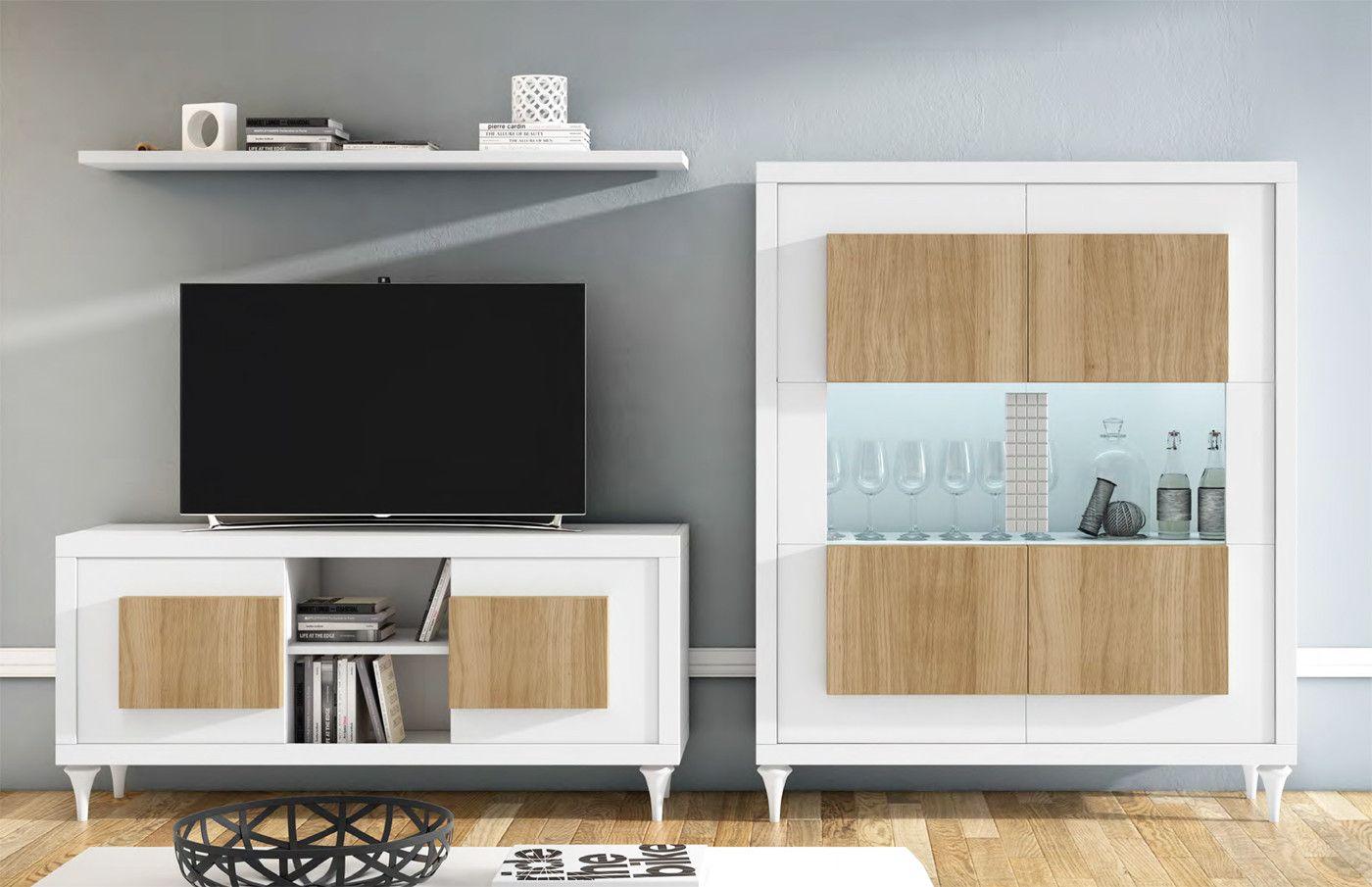 Muebles de sal n con mesa de tv y vitrina con iluminaci n - Muebles de salon con luz led ...