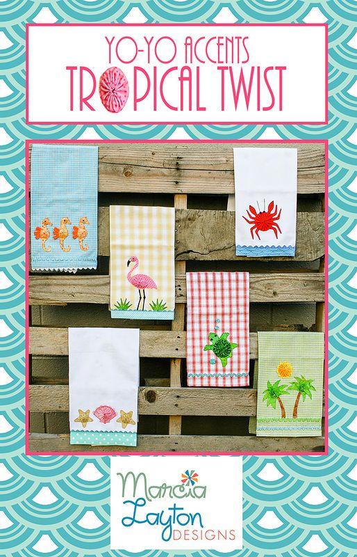 Tropical Twist Tea Towels pattern - Marcia Layton Designs, LLC