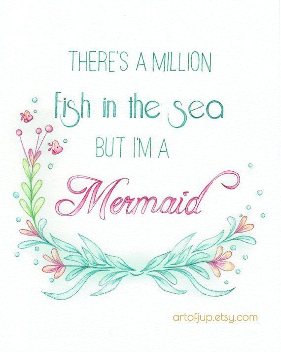 Mermaid art quote water color art print quote by artofjup for The color of water quotes with pages